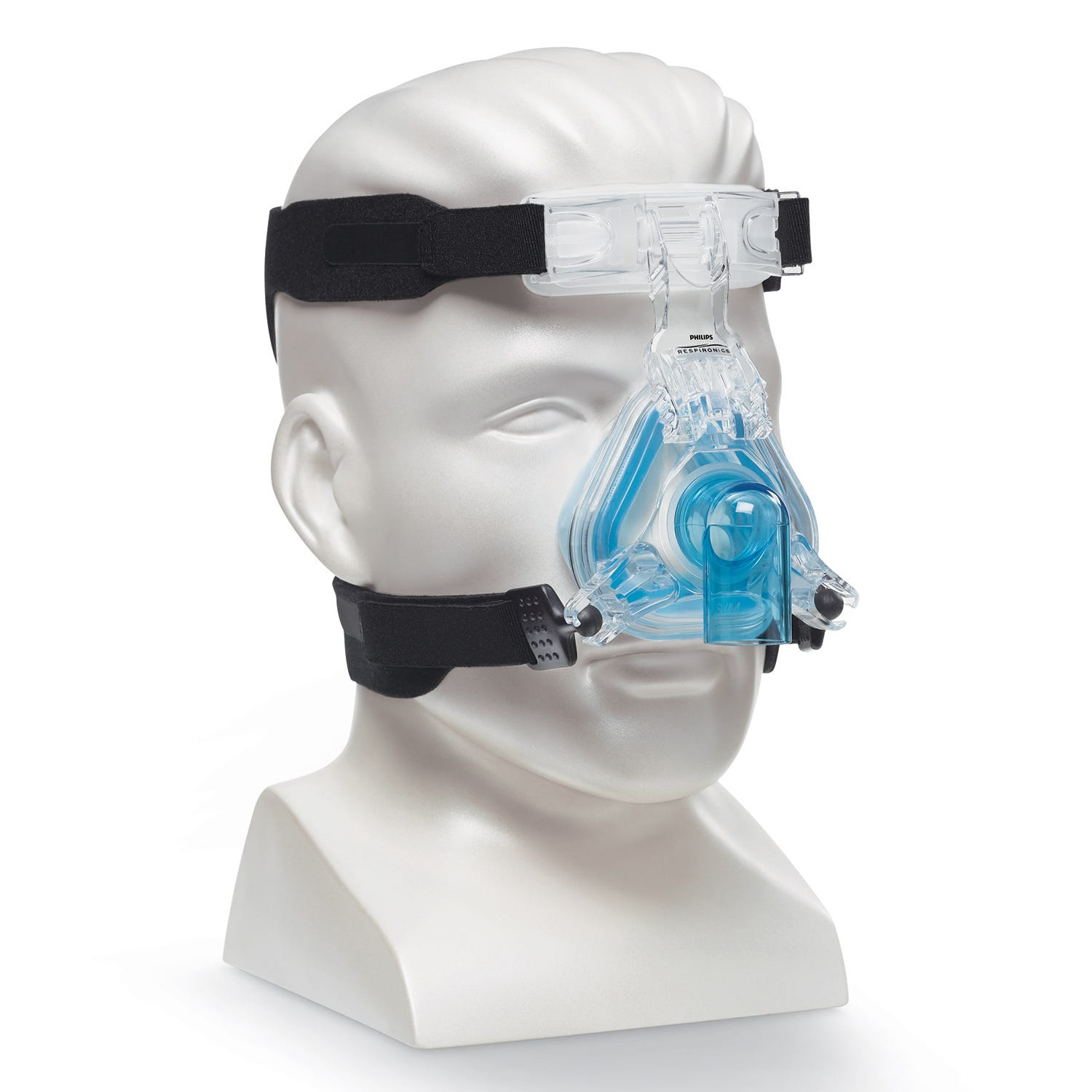 Respironics ComfortGel Blue Nasal CPAP Mask and Headgear Angle View