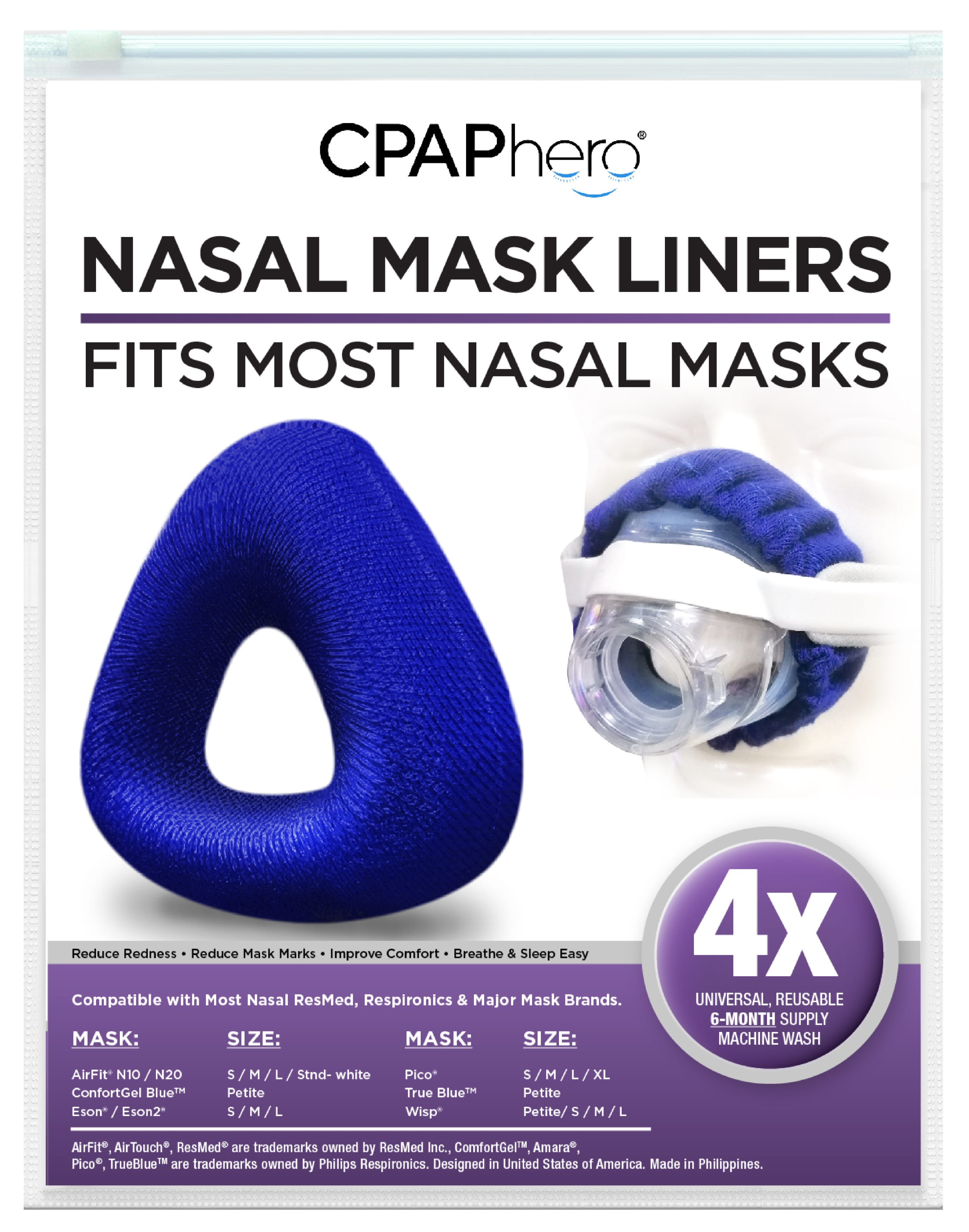 Reusable Nasal Mask Liners - 4 Pack